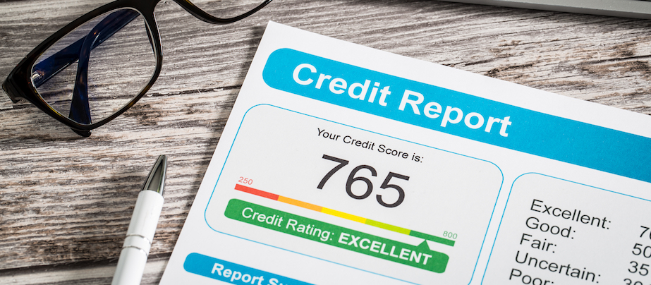 Credit report with Excellent Score